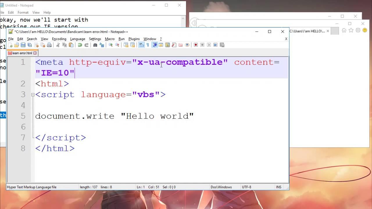 VBScript Learning - ERROR On Internet Explorer 11 Above