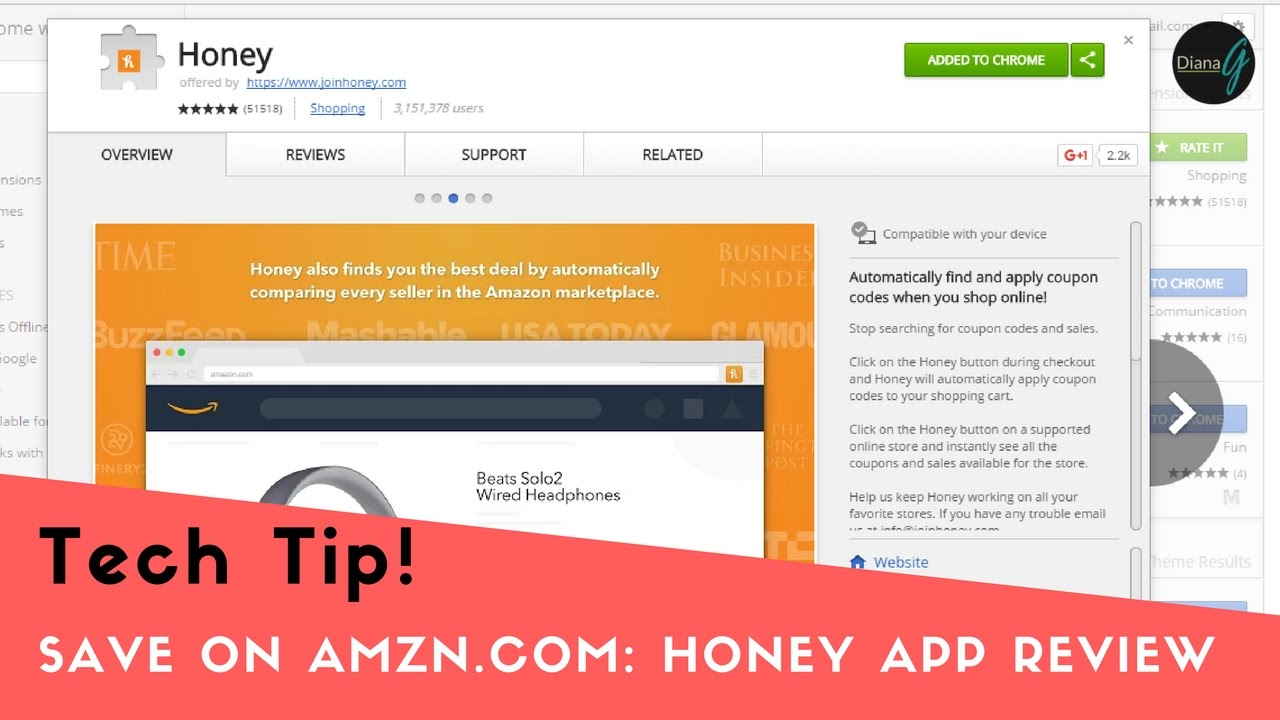 Honey Chrome App Quick Review-How it Works with Amazon.com - YouTube