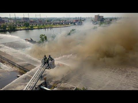 Drone Footage of AGI Building Fire (Bridgeport, CT) 7/12/17