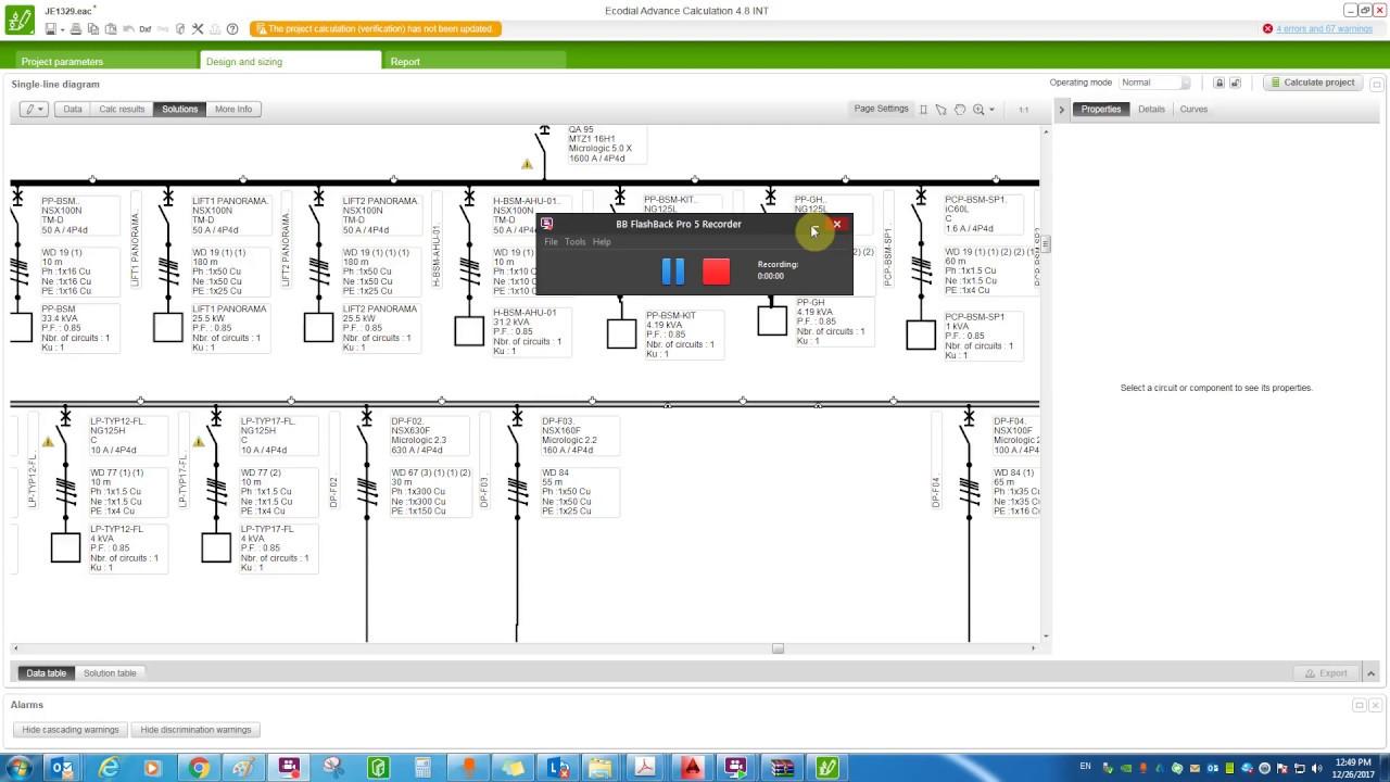 single line diagram calculation iec standard part 7  errors,warnings,information