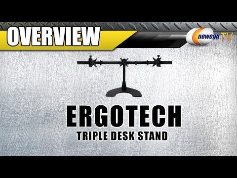 Ergotech Triple Desk Stand With Telescoping Wings Overview   Newegg TV