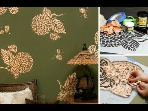 How To Stencil Gold Metal Leaf Wall Art With Flower