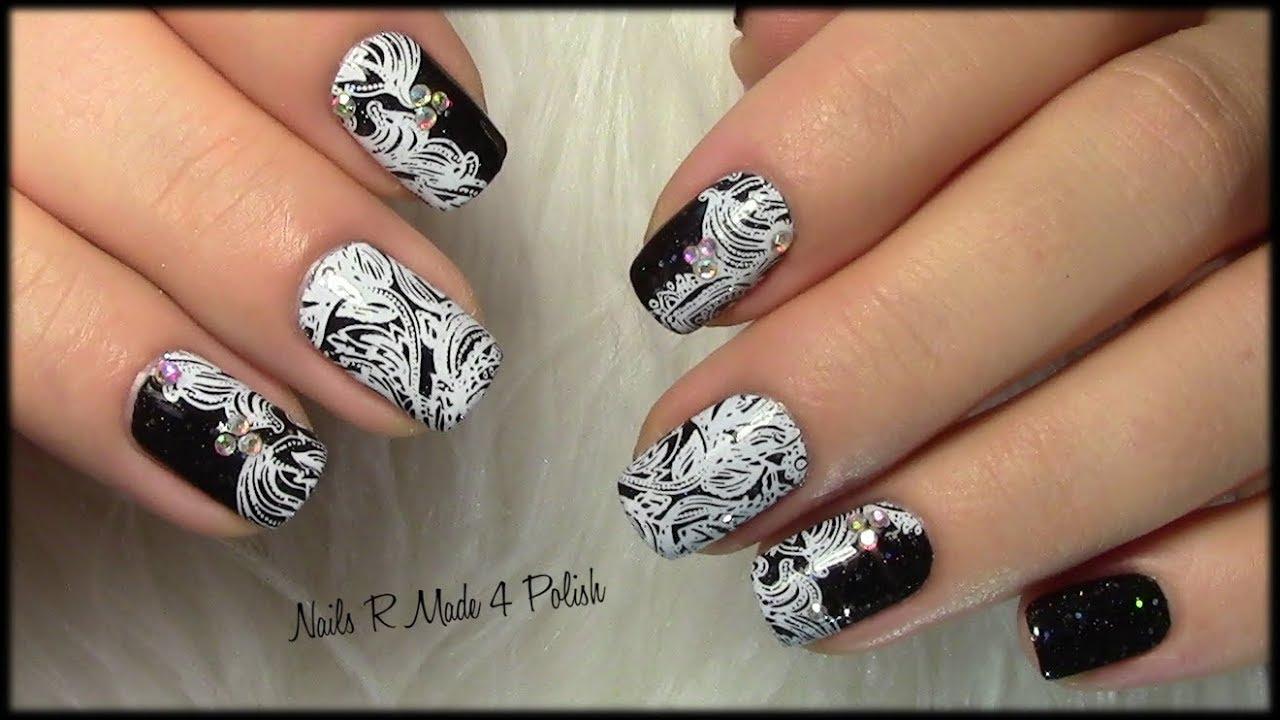 Elegantes Schwarz Weiß Nageldesign Maniküre Elegant Black White