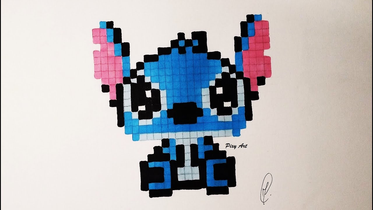 Kawaii Baby Stitch Pixel Drawing Real Time