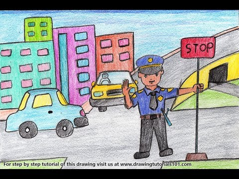 how to draw a traffic policeman at traffic signal scene step by step