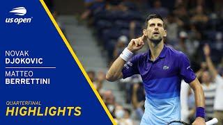 Novak Djokovic vs Matteo Berrettini Highlights | 2021 US Open Quarterfinal