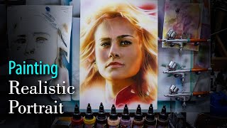 Realistic Portrait Brie Larson (Captain Marvel) - Retrato realista Capitana Marvel