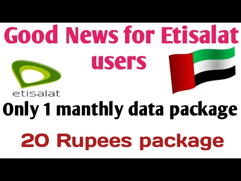 How can I activate etisalat manthly data package in UAE||only 20 Dhram