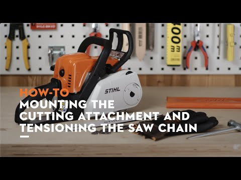 STIHL MS 180 C-BE chainsaw: Mounting the bar and chain, tensioning the saw chain