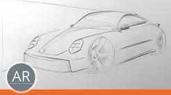 Porsche 911 zeichnen lernen. Porsche-Zeichnungen. Transportation Design Bewerbungsmappe