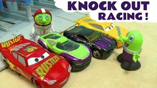 Cars 3 Lightning McQueen 8 Lane Knock Out with Hot Wheels Superheroes and funny Funlings TT4U