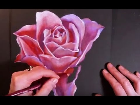 Speed Painting Flower - Drawing A Rose With Colored Pencils