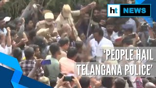 People celebrate in Telangana after rape-murder accused killed in encounter