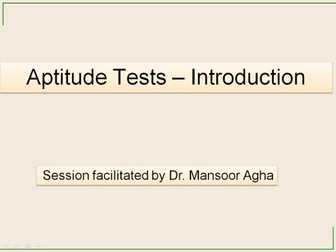 Aptitude Tests Introduction