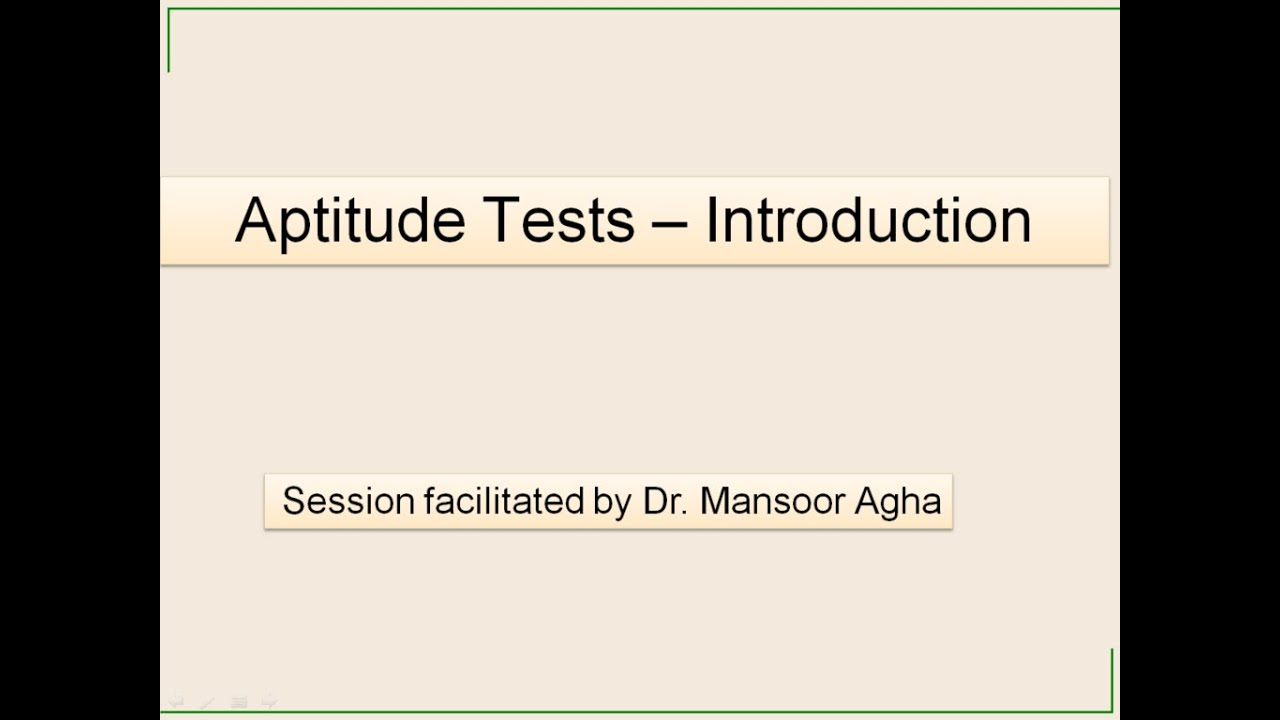 aptitude tests introduction
