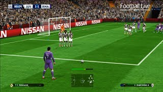 pes 2017   juventus vs real madrid   2 free kick goal c ronaldo   final uefa champions league ucl