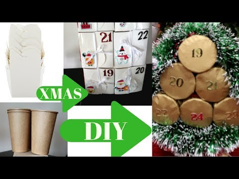 DIY Christmas Advent Calendars, using Paper cups and Loot bags