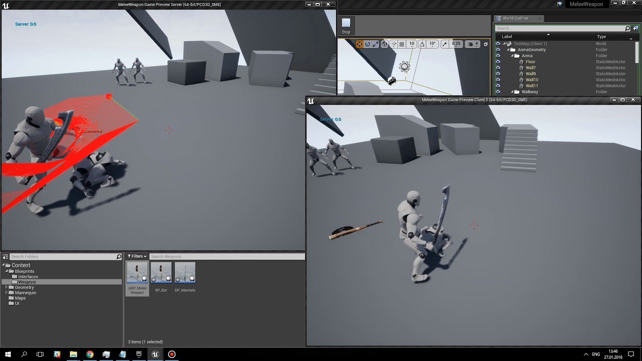 Unreal Engine 4 - Melee Weapon Tracing System  Multiplayer support, melee  combat