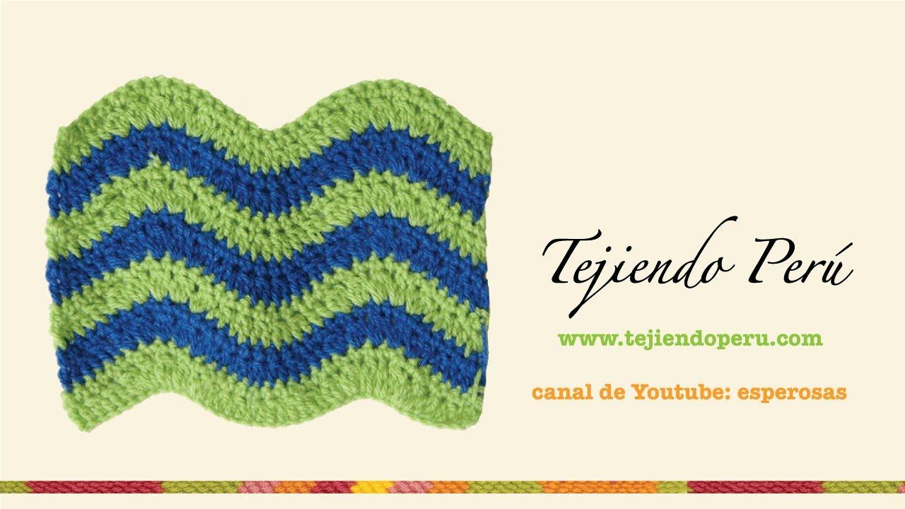 Punto de ondas tejido a crochet - YouTube