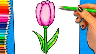 Como Dibujar Y Colorear una Flor | Dibujo de Flor para Colorear