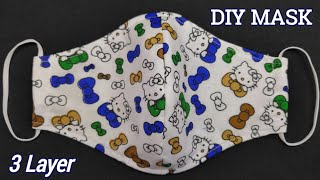 New Design How to Make Very Easy 3 layer Face Mask at Home Face Mask Sewing Tutorial DIY Mask