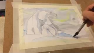 Белые медведи акварелью
