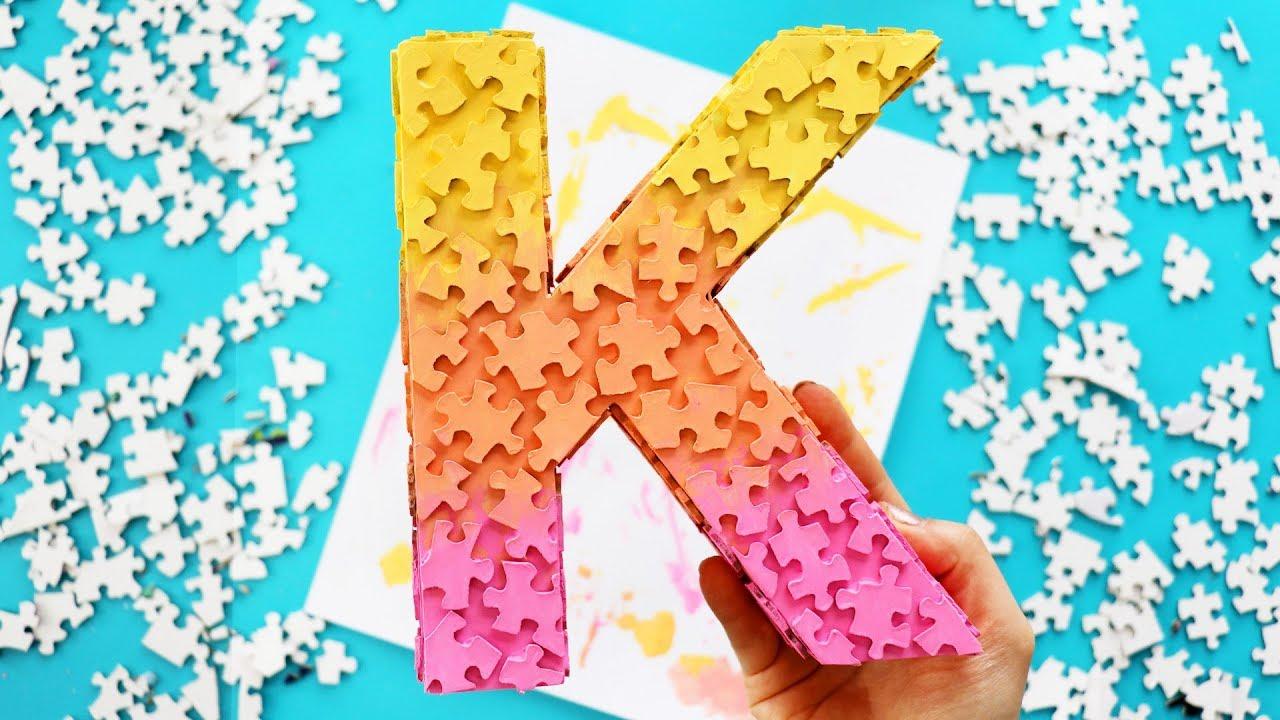 Diy Jigsaw Puzzle Piece Monogram Room Decor Youtube