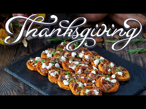 Thanksgiving Side Dishes - Roasted Sweet Potatoes with Goat Cheese and Candied Bacon