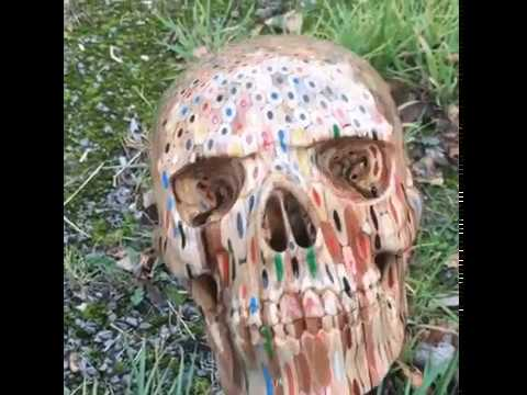 Skull carved out of hunderds of colored pencils
