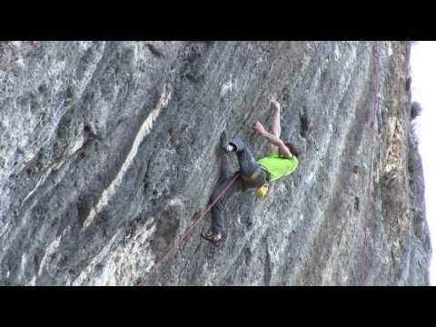 Adam Ondra doing the first Ascent of Mamichula, hard 9b, Oliana