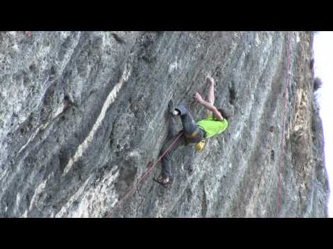Adam Ondra doing the FA of Mamichula, hard 9b, Oliana