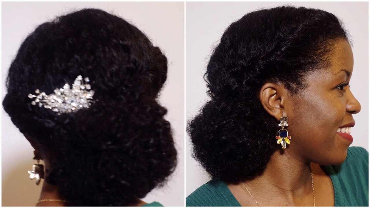 Quick Elegant Holiday Low Bun Tutorial On Natural Hair