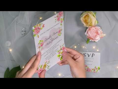 lush floral UV printing wedding invites on Vellum paper EWUV026