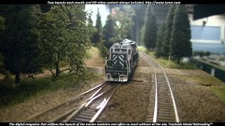Trio of SD40-2s Running Light on the N Scale Mud Bay  & Southern Railway.