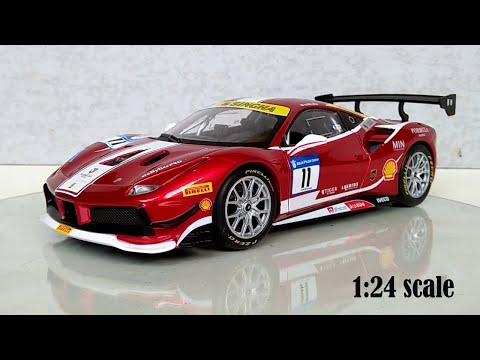 Ferrarri 488 Challenge (red) 1:24 Scale bburago Diecast Car Close Up (Track Edition)