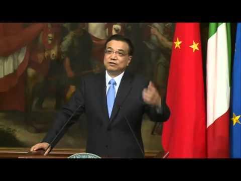 Matteo Renzi e Li Keqiang Conferenza Stampa Accordi Italia-Cina