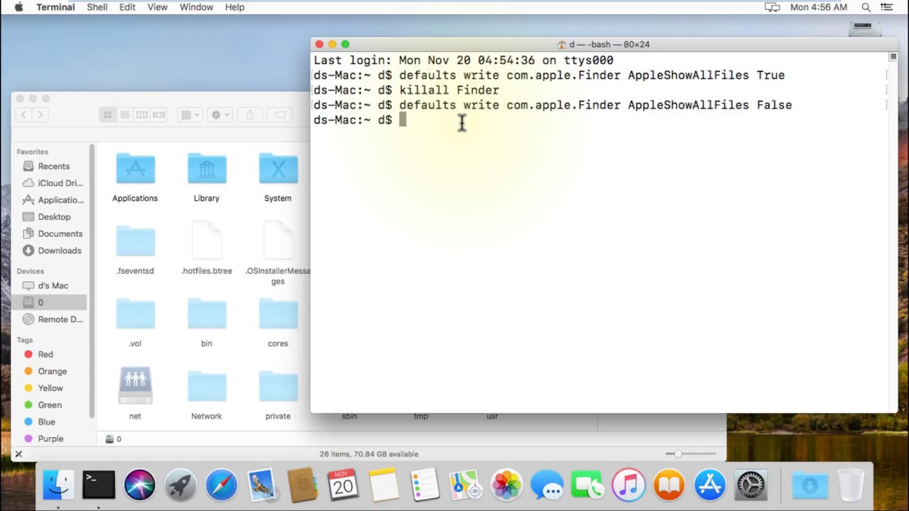 How to show/hide Hidden Files and Folders in macOS X by Terminal