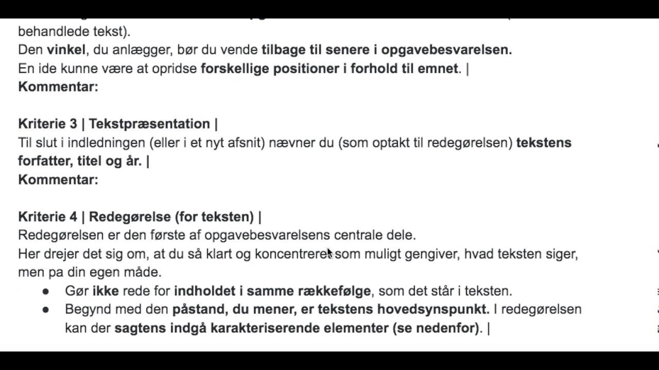 Kriterier for bedømmelse af kronik