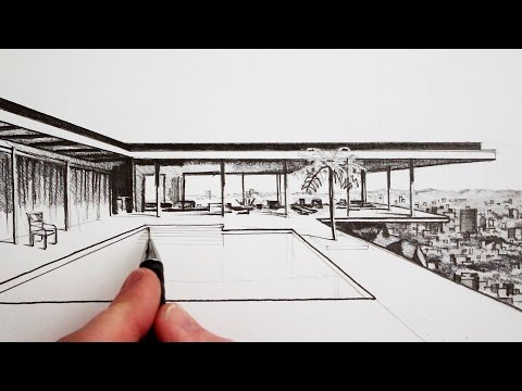 How to Draw a Modern House: Time Lapse