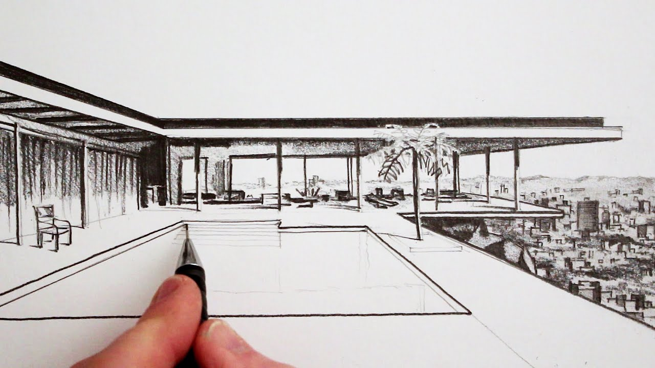 How to draw a modern house time lapse youtube Drawing modern houses