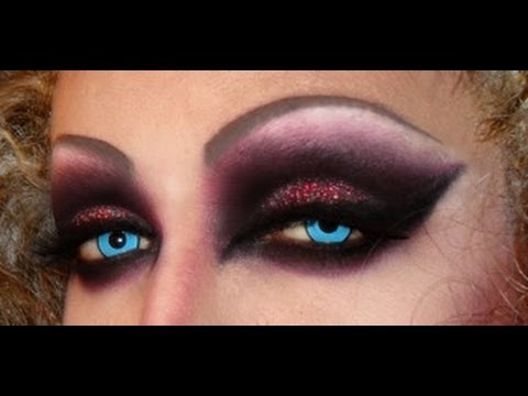 Red goth dragqueen smokey eyes - fast tutorial!!!!!! - YouTube