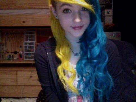 dying hair yellow turqouise youtube