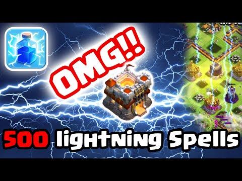 Clash of Clans - 500 Lightning Spells On Single Village