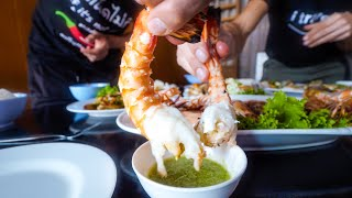 Seafood Thailand - GIANT TIGER SHRIMP at 1 Table Restaurant in Bangkok!