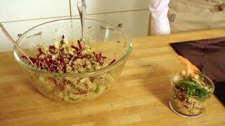 RECETTE : Salade croquante de Pommes, Crevettes, Betterave et Quinoa