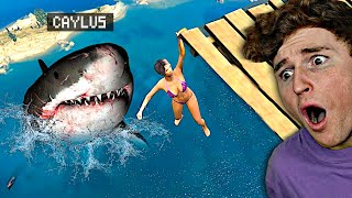SCARY Megalodon Eats Everyone In GTA 5.. (GTA 5 Mods)