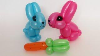 Кролик (заяц) из шаров / Rabbit (bunny) of balloons (Subtitles)(Как сделать кролика из одного шара ШДМ 260 и кусочка черного для глаз. Успехов! How to make one balloon rabbit (one 260 and scrap..., 2015-01-08T12:35:09.000Z)