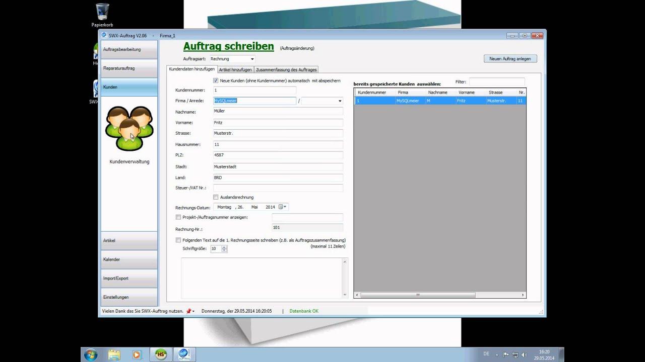 Rechnungsprogramm SWX-Auftrag / kurze Vorstellung - YouTube