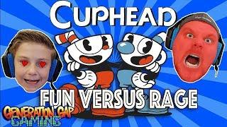 Cuphead - Fun vs Rage Gameplay Dad Can't Take It!!!