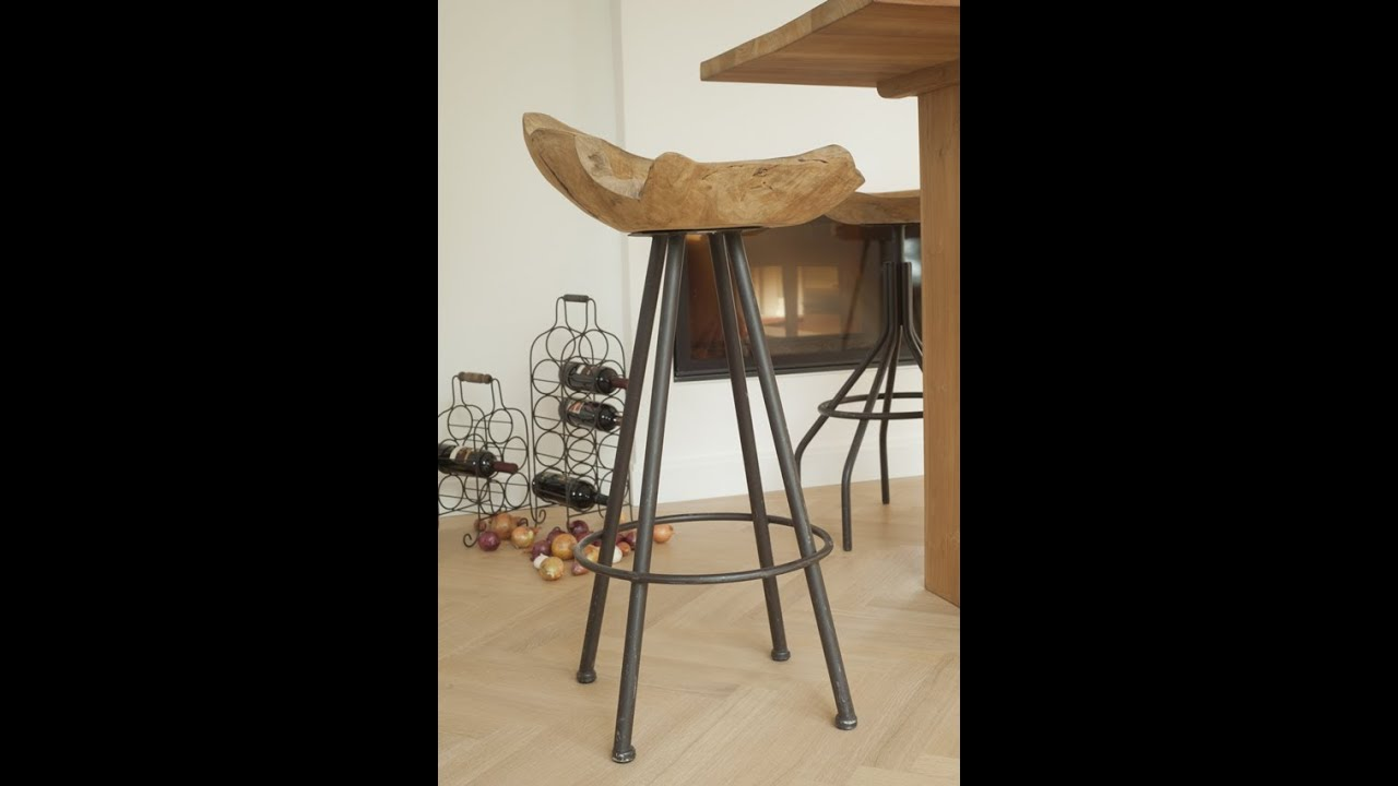 wohnideen - stylischer barhocker teakwurzel | varia living - youtube,